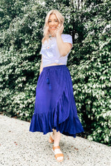 navy ruffle maxi skirt