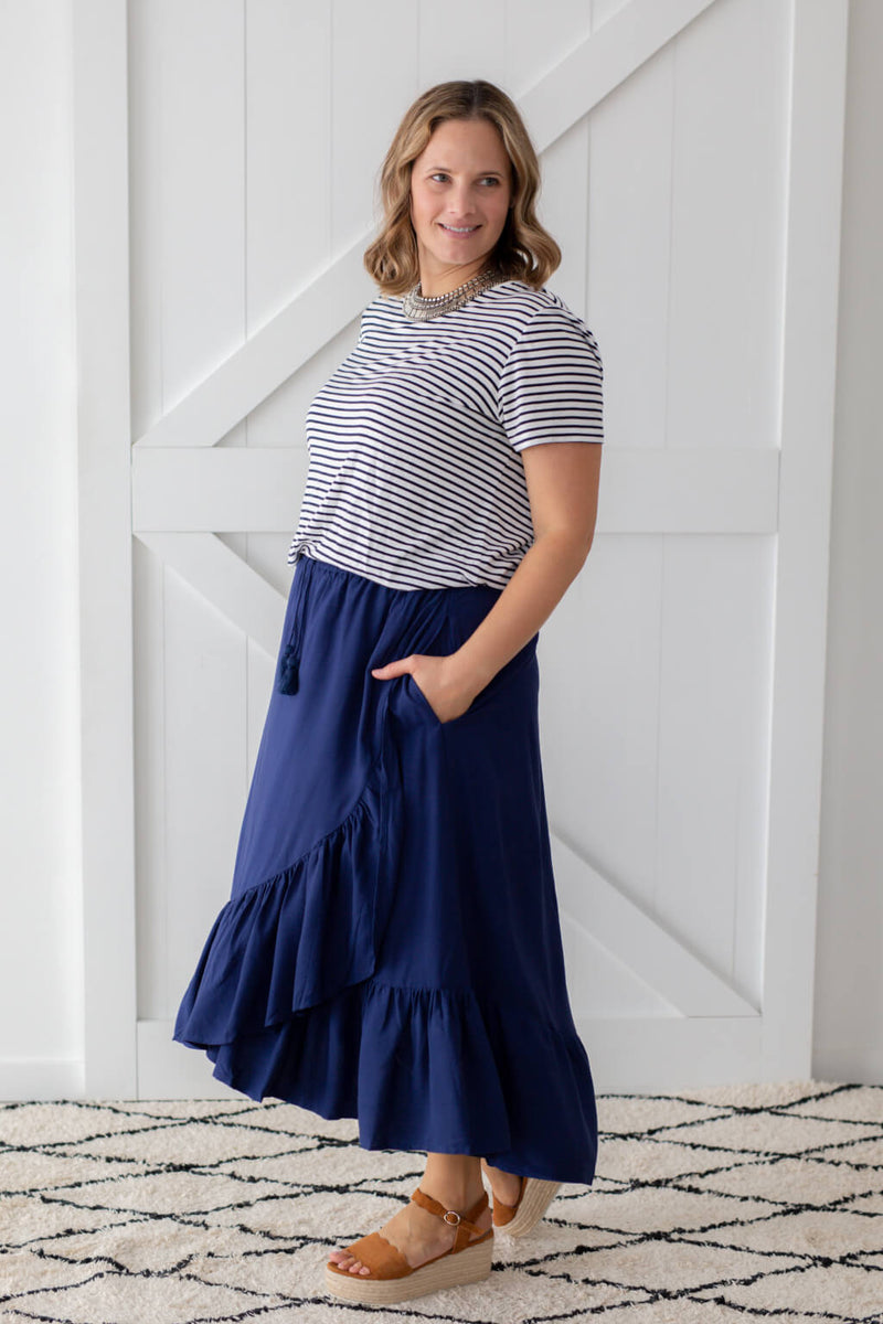 plain navy maxi skirt