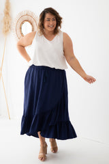 plain navy wrap maxi skirt