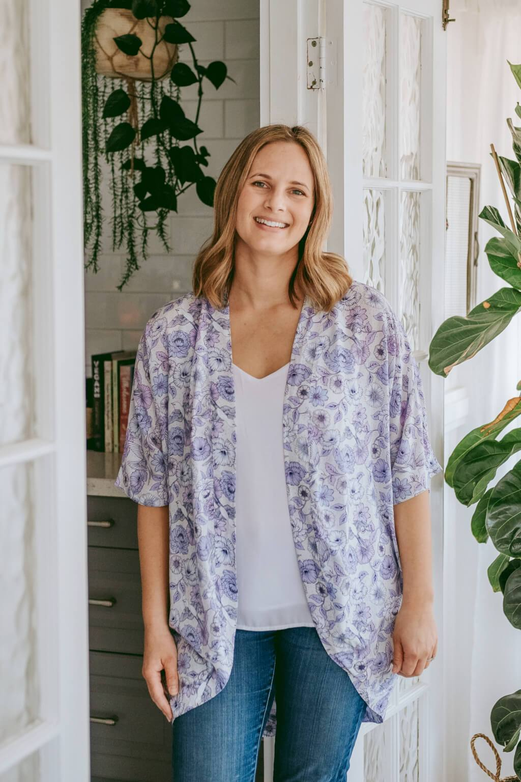 purple floral breastfeeding cover up