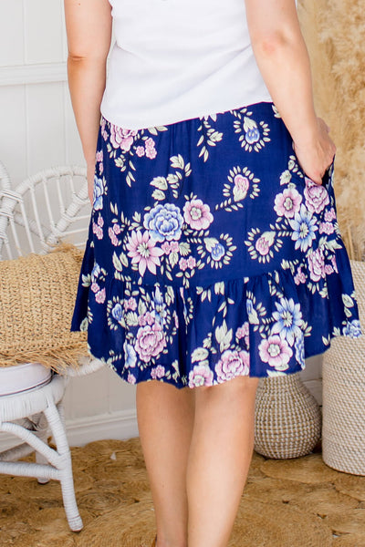 back of ruffle skirt in navy floral print