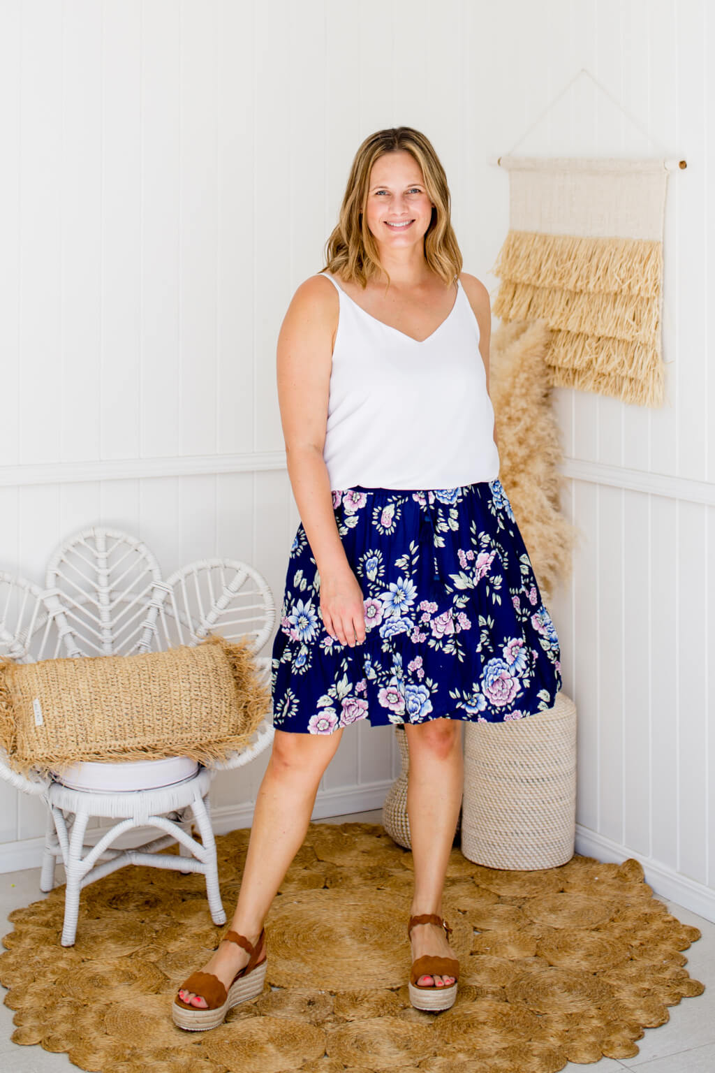 Ruffle Mini Skirt - Navy Floral