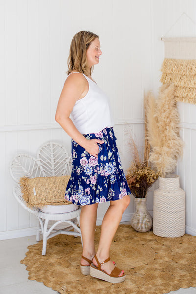 navy flower print skirt