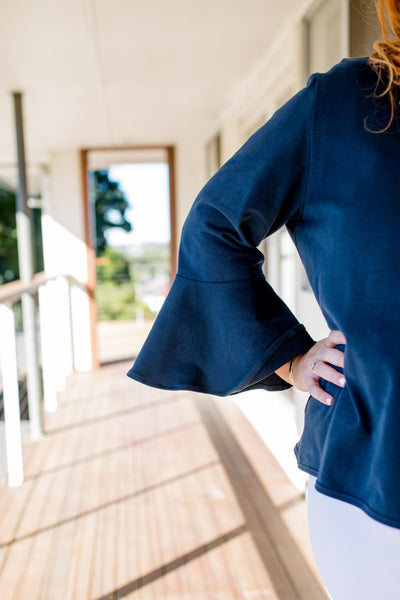 bell sleeve navy jumper