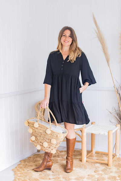 black boho tunic dress