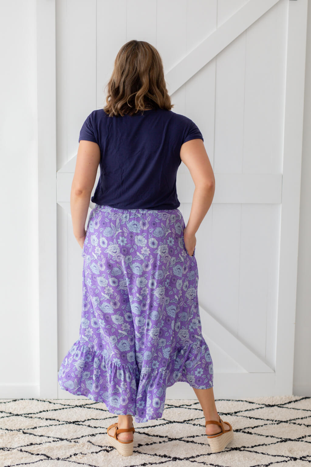 maxi skirt with ruffle trim