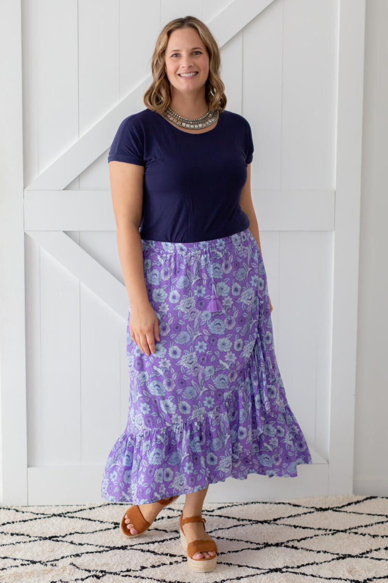 purple wrap maxi skirt