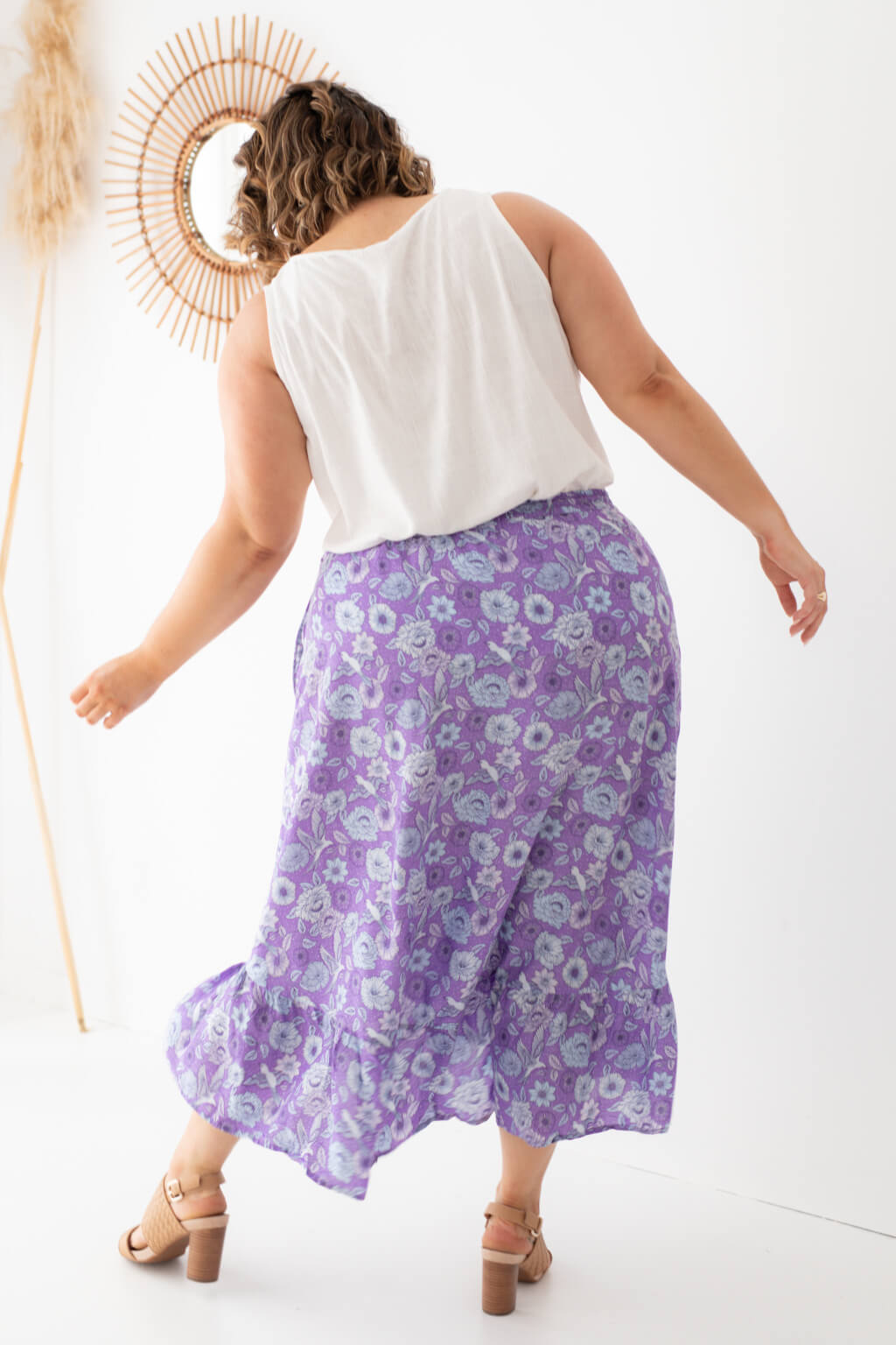 purple maxi skirt with elastic waist