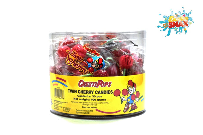 crestipops twin cherry candies 30 pcs 400 grams