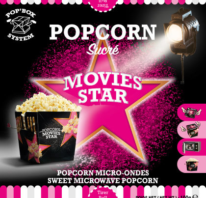Popcorn,  SUCRE , SWEET MICROWAVE POPCORN - Movie Star
