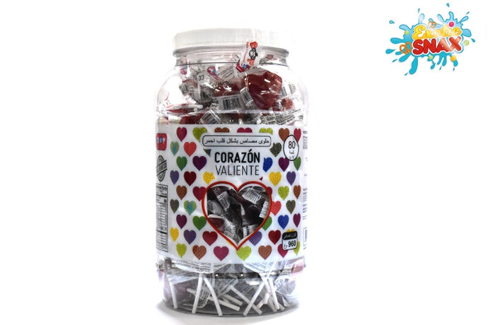 Corazon valiente Red Heart lollipop jar 80pcs