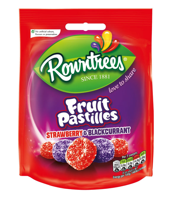 Rowntree's Fruit Pastilles Strawberry & Blackcurrant Pouch 150g