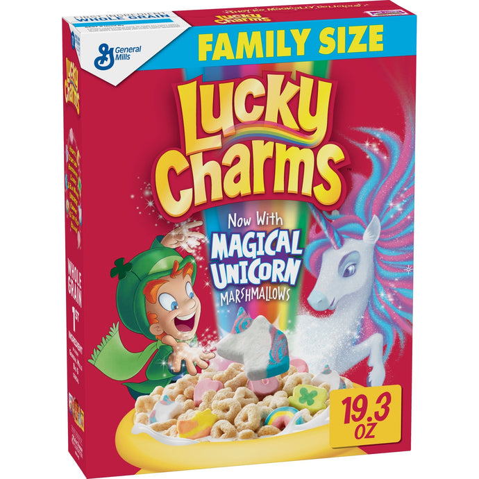Lucky Charms Breakfast Cereal, Marshmallow Cereal, Gluten Free, Family Size, 19.3 oz