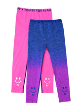 Load image into Gallery viewer, PINK & BLUE OMBRE HI BYE LEGGINGS 2-PACK