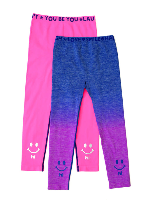 PINK & BLUE OMBRE HI BYE LEGGINGS 2-PACK
