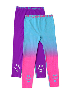 PURPLE & BLUE OMBRE HI BYE LEGGINGS 2-PACK