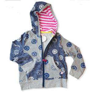 GREY BLUE SMILEY FACE ZIP-UP
