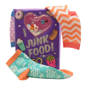 I LOVE JUNK FOOD SHAKER NOTEBOOK WITH ANKLET-KOMBO