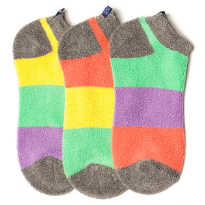 PASTEL COLORBLOCK REVERSE TERRY LINER SOCKS