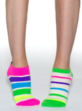 Load image into Gallery viewer, REVERSIBLE LOOP TERRY ZANY STRIPES LINER SOCKS