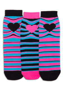 MISS MATCHED STRIPES ANKLE SOCKS