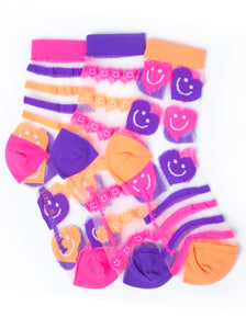 STRIPES & HEARTS JELLY ANKLE SOCKS