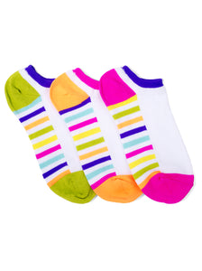 WHITE ZANY STRIPED LINER SOCKS