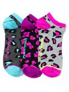 NEON ANIMAL PRINT LINER SOCKS