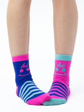 Load image into Gallery viewer, BLUE & PINK HI BYE ANKLE SOCKS