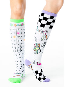 WACKY WORD SEARCH COLORIZE KNEE HIGH SOCKS