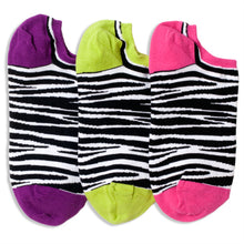 Load image into Gallery viewer, ZEBRA & STRIPE REVERSIBLE LINER SOCKS