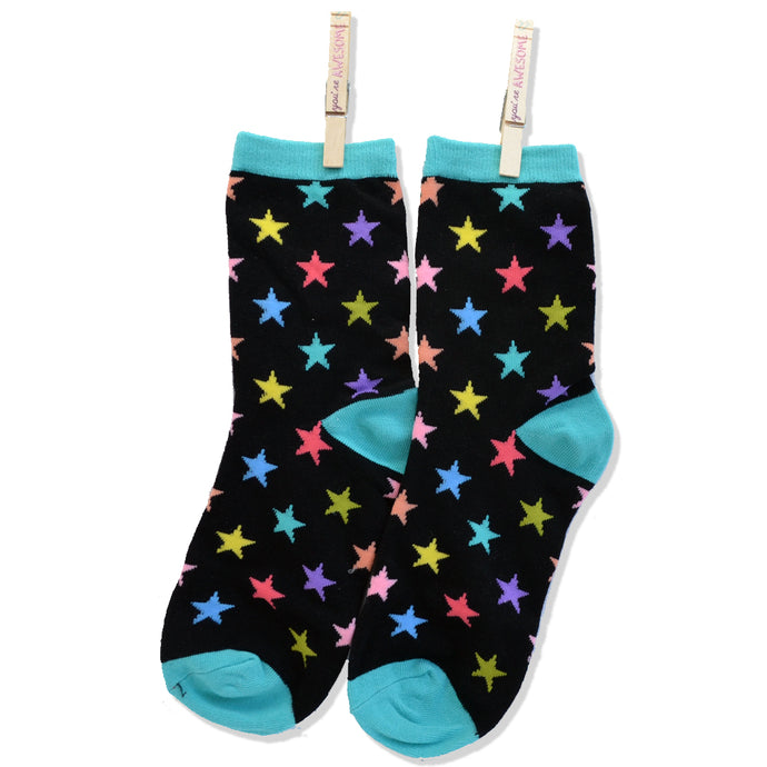 BLACK ZANY ANKLE SOCKS-MATCHING STARS