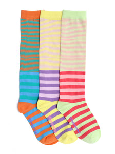 KOOKY STRIPES MIX KNEE HIGH SOCKS
