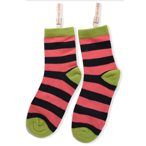 KOOKY STRIPES ANKLE SOCKS ORANGE-RED