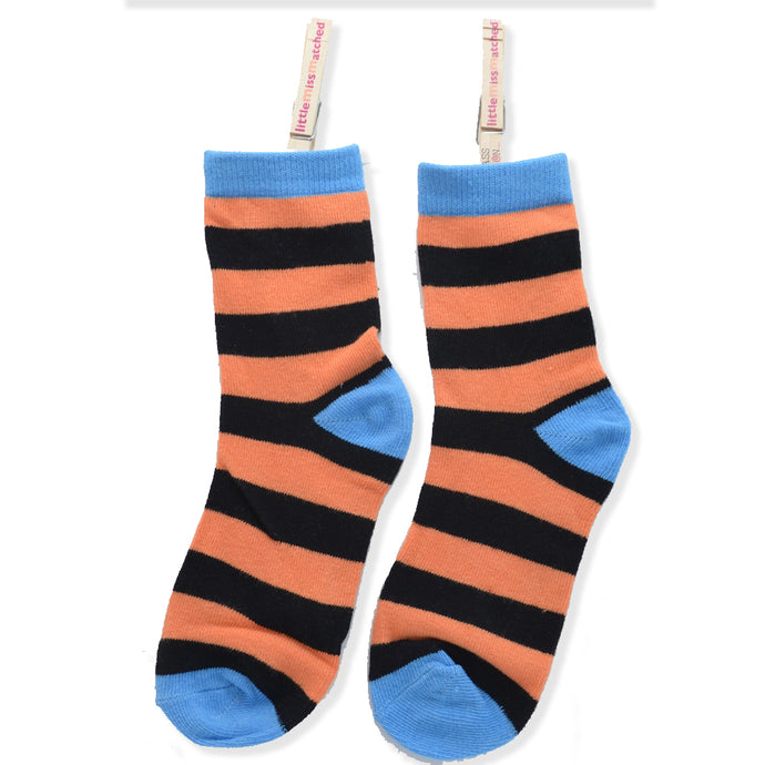 KOOKY STRIPES ANKLE SOCKS ORANGE