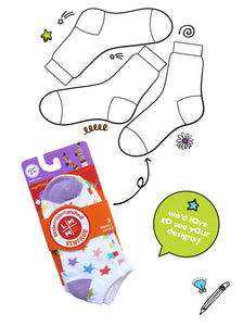 WHITE ZANY LINER SOCKS