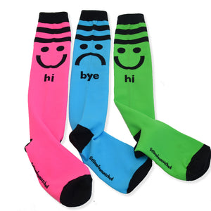 Hi/Bye knee High Socks pink, green & blue