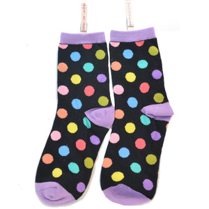 BLACK ZANY ANKLE SOCKS-MATCHING DOTS