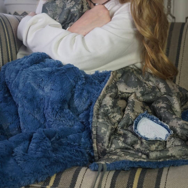 ACU/UCP Camo Pattern Sequin Fringed Heart Chambray Fur Woobie Weighted Blanket