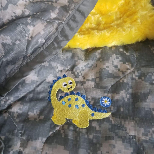 ACU/UCP Camo Pattern Dino Daisy B Design WeeWoobie Weighted Blanket with Canary Faux Fur