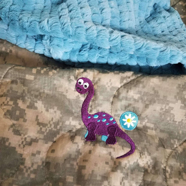 UCP/ACU Camo Pattern Dino Daisy D Design Woobie Weighted Blanket with Lake Fur