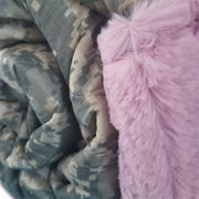 ACU/UCP Camo Stars 'n Stripes Heart Design Woobie Weighted Blanket with Wild Rose Fur