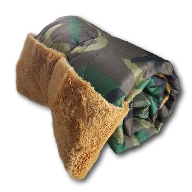Desert Camo Heart WeeWoobie Weighted Blanket - Woodland Camo with Goldenrod Fur