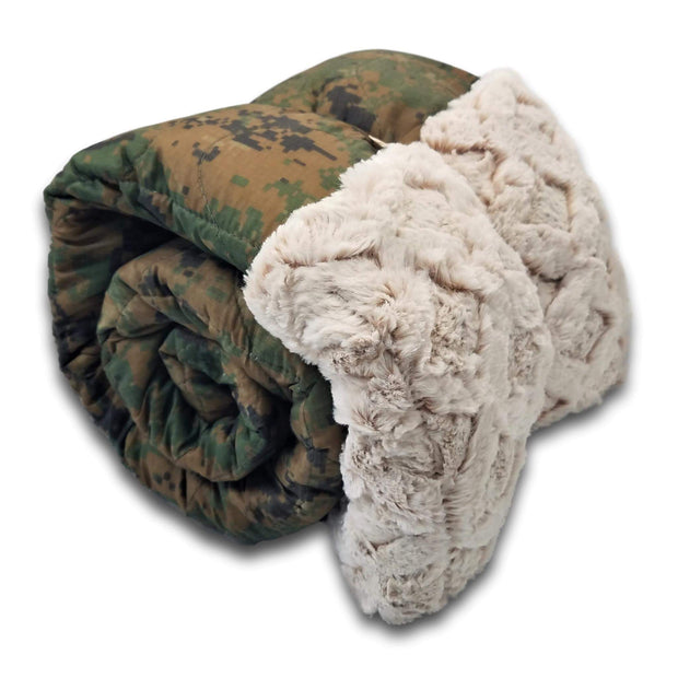 MARPAT Camo Flag Day Every Day Design Woobie Weighted Blanket with Diamond Faux Fur
