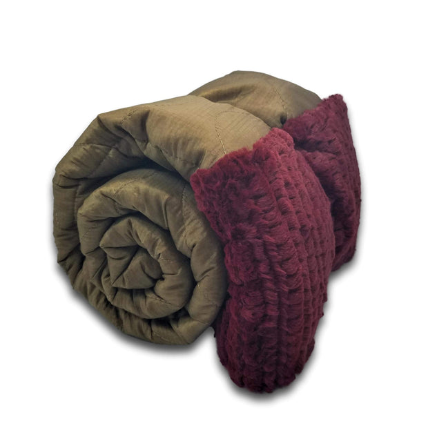 Coyote Camo Pattern FREEFLY Design Woobie Weighted Blanket with Merlot Fur