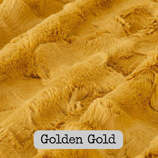 Finland Camo Pattern Spiffy Llama Woobie Weighted Blanket with Golden Gold Fur