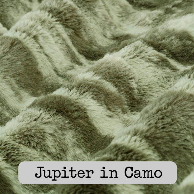 Dutch Camo Pattern Spiffy Llama WeeWoobie Weighted Blanket with Golden Gold Fur