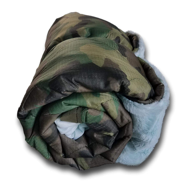 Laced Heart WeeWoobie Weighted Blanket - Woodland Camo with Wintergreen Fur