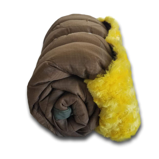 Coyote Camo Pattern Lambie Woobie Weighted Blanket with Canary Fur