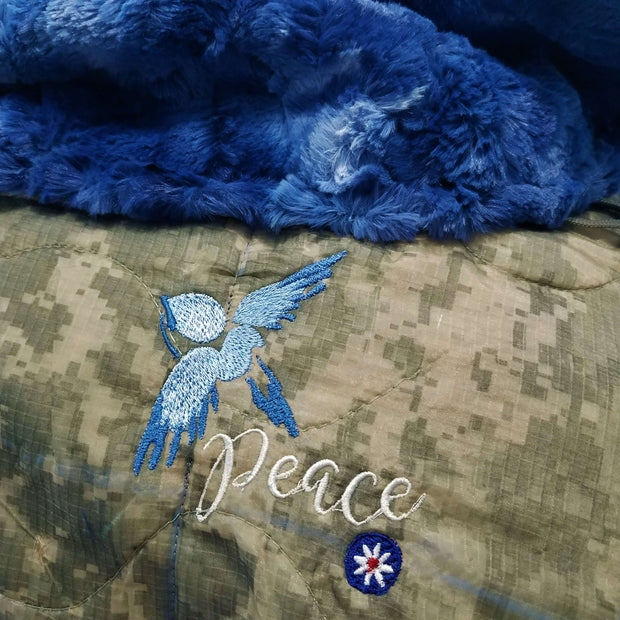 ACU/UCP Camo Pattern Peace Design Woobie Weighted Blanket with Sapphire Fur